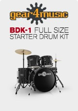 BDK-1 Full Size Starter Drum Kit by Gear4music, Black